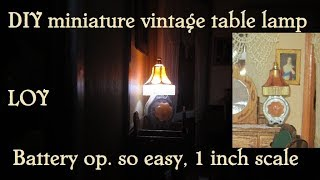 Table lamp diy miniature vintage for dollhouse LED battery operated