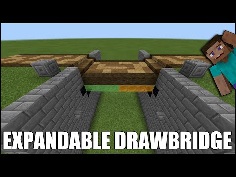 How To Build A EXPANDABLE Drawbridge In Minecraft Bedrock! (Up To 14 Blocks Wide!)