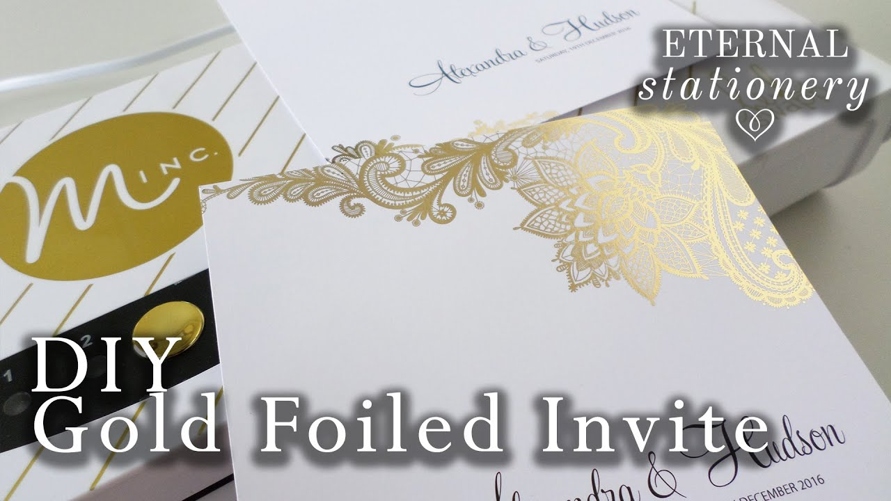 DIY: Gold foil transfer Wedding Invitations / Heidi Swapp Minc | How ...