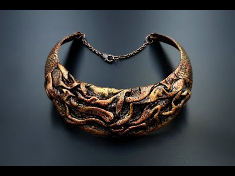 """Polymer Clay Fimo Leather """"Dragon's Cave Treasure"""" Necklace - My Result!"""