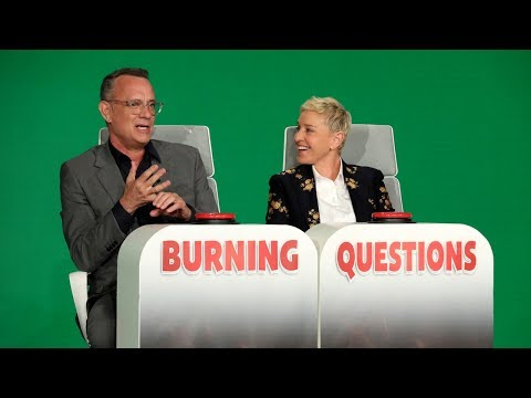"Tom Hanks sat in Ellen's hot seat to answer some of her ""Burning Questions."""