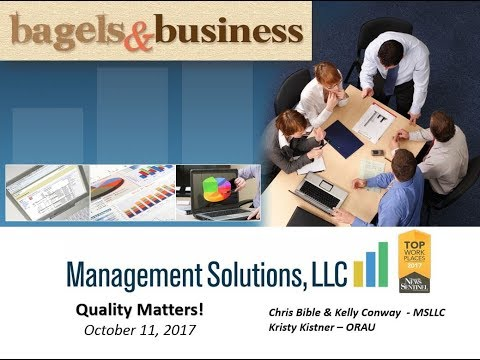 Bagels & Business: Quality: It Matters! Oct 11 2017