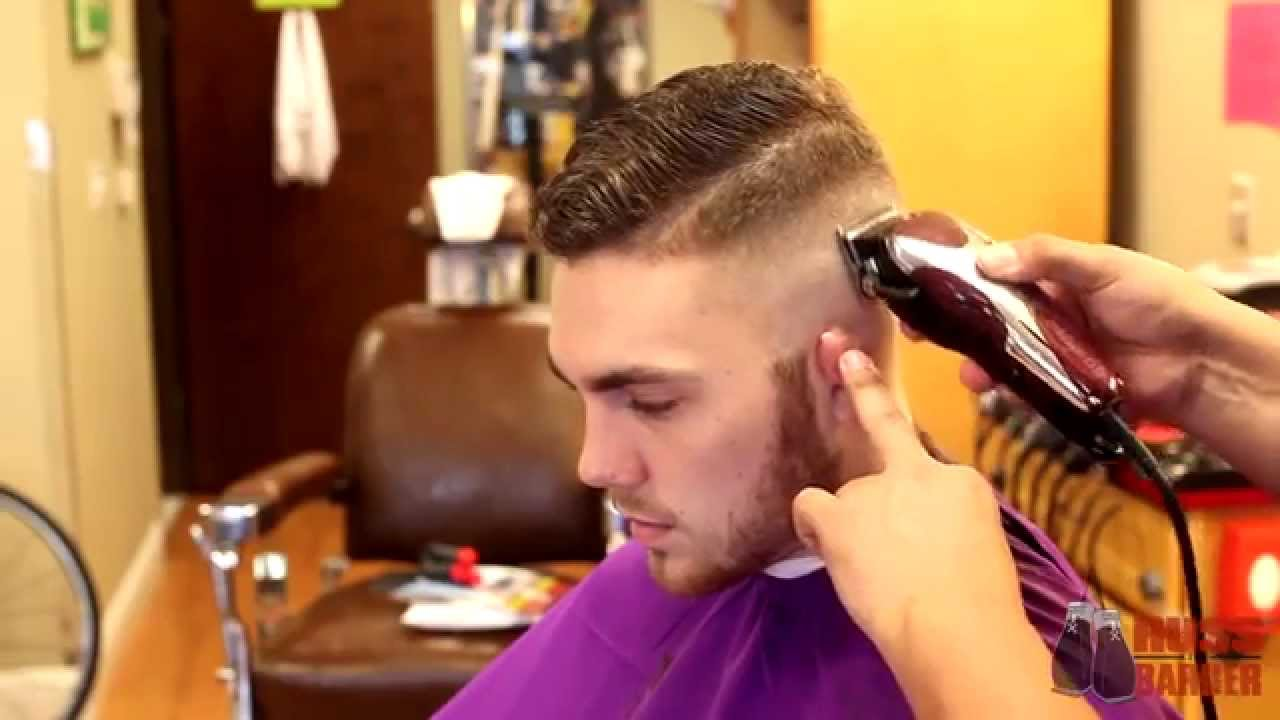 Combover Fade Haircut With Side Part Hard Part Comb Over By Russ