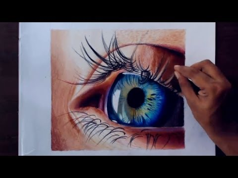 Drawing A Realistic Eye Using Colored Pencils.