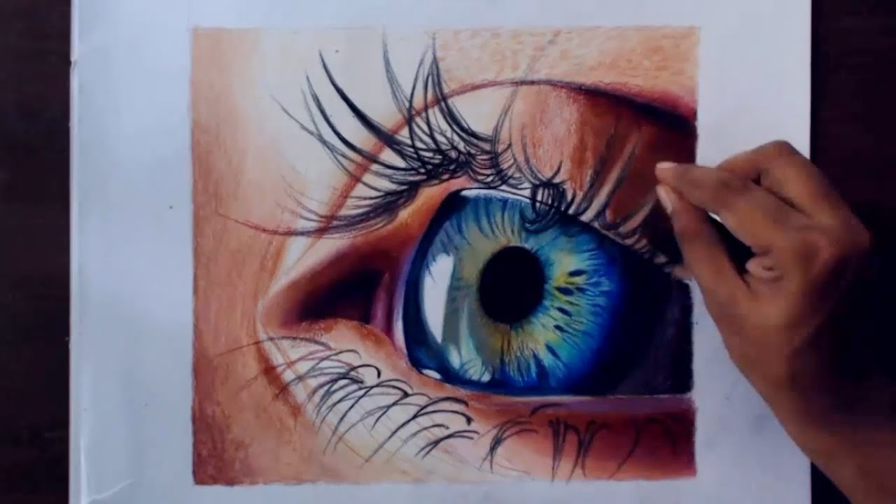How to draw with colored pencils - Drawing A Realistic Eye Using Colored Pencils