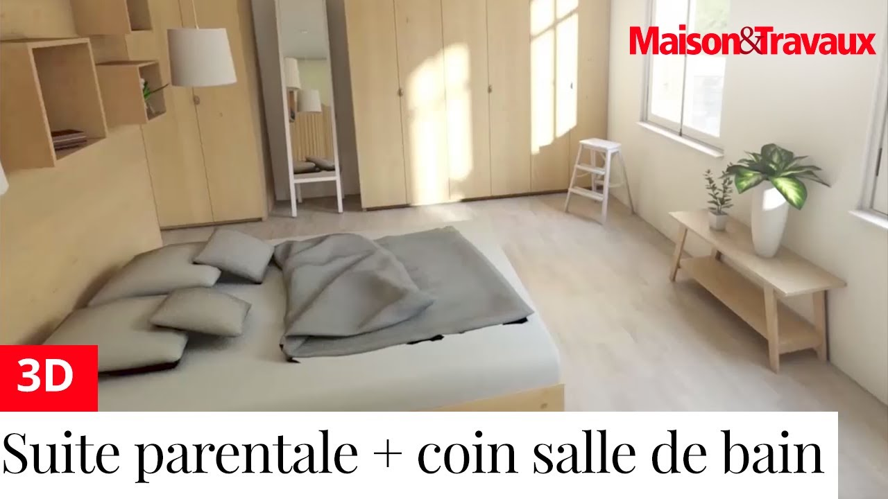 ma maison en 3d cr ation d une suite parentale avec un mini coin salle de bain youtube. Black Bedroom Furniture Sets. Home Design Ideas