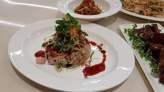 참치회덮밥,전복유산슬,바베규소스등갈비조림,짜사이무침