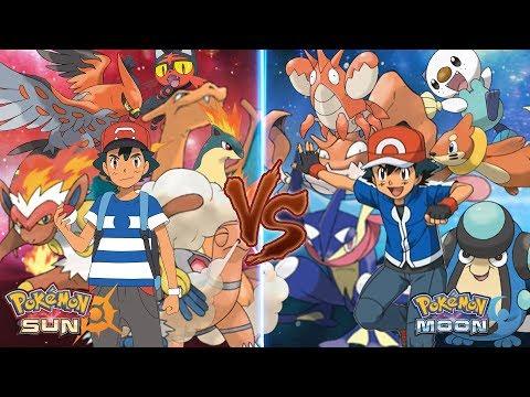 Pokemon Sun and Moon Ash Vs Ash (Fire Type Vs Water Type)