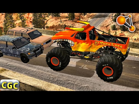 Monster Truck high speed Jumps Crashes BeamNG Drive #1