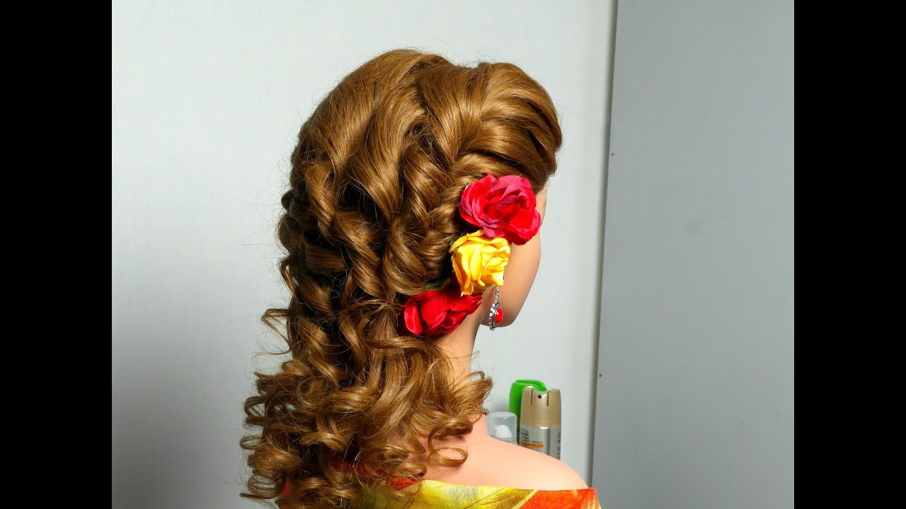 Romantic Curly Hairstyle With Twist Braid.