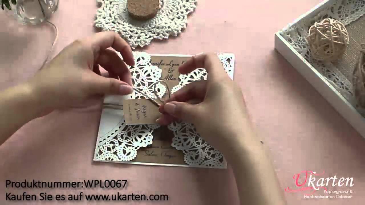 Diy Lasercut Hochzeitskarten Wpl0067 Von Ukarten Youtube