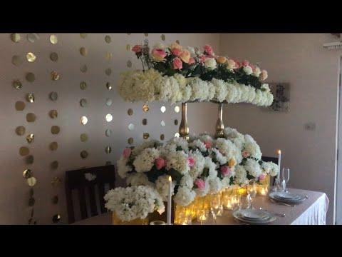 DIY  Wedding Table Decor DIY   Bling Decor DIY Floral Decor DIY   Long  Table Decor Part 2