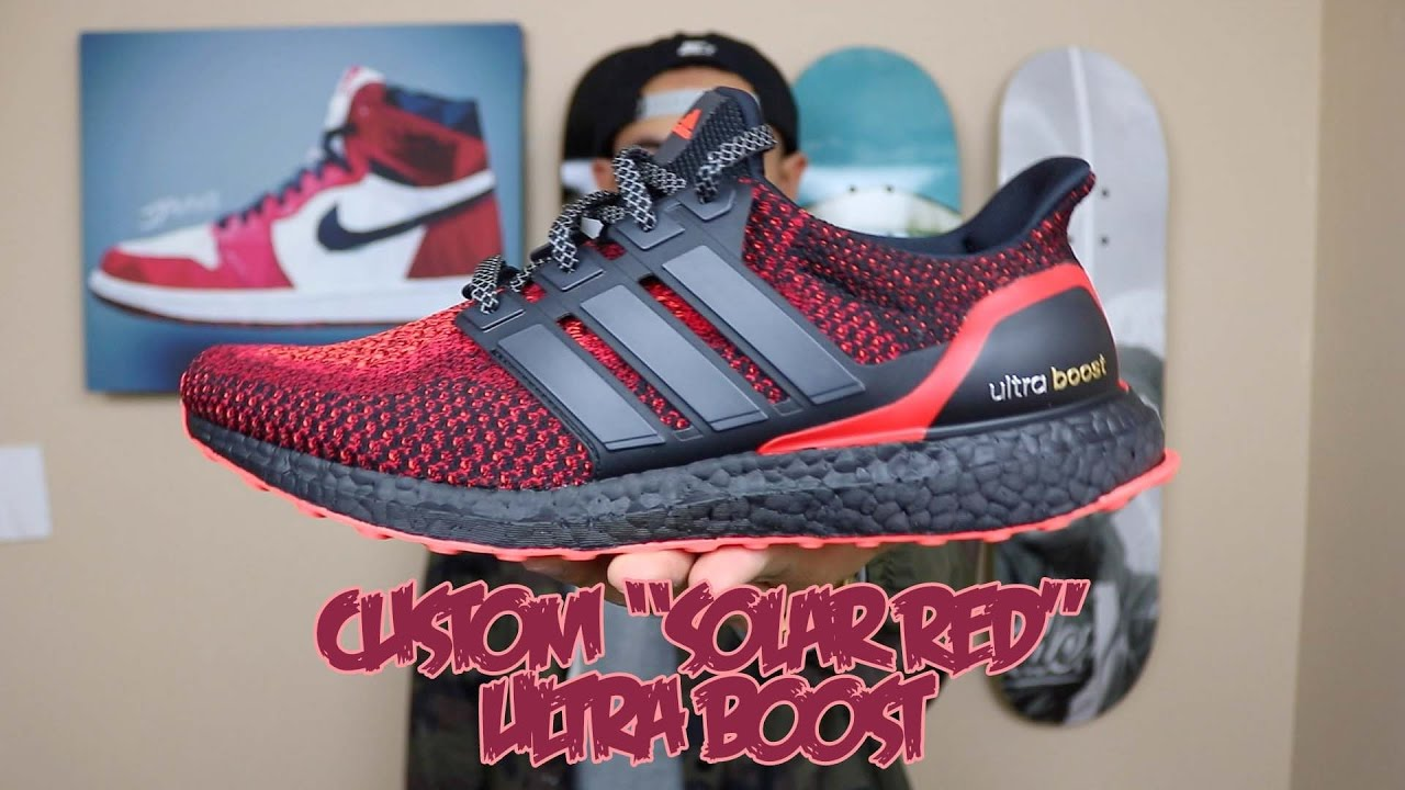 8ce4dd60d How To  Custom Solar Red Ultra Boost! - YouTube