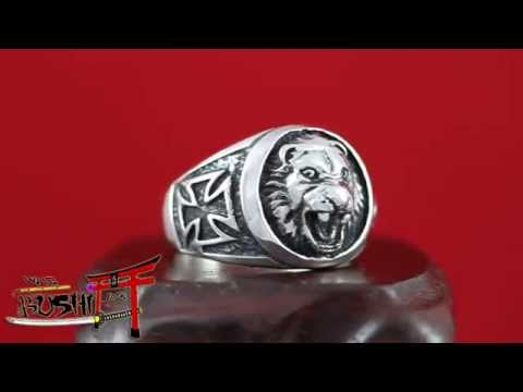 925 Sterling Silver Antique Masonic Ring Knights Templar Lion Head and Cross