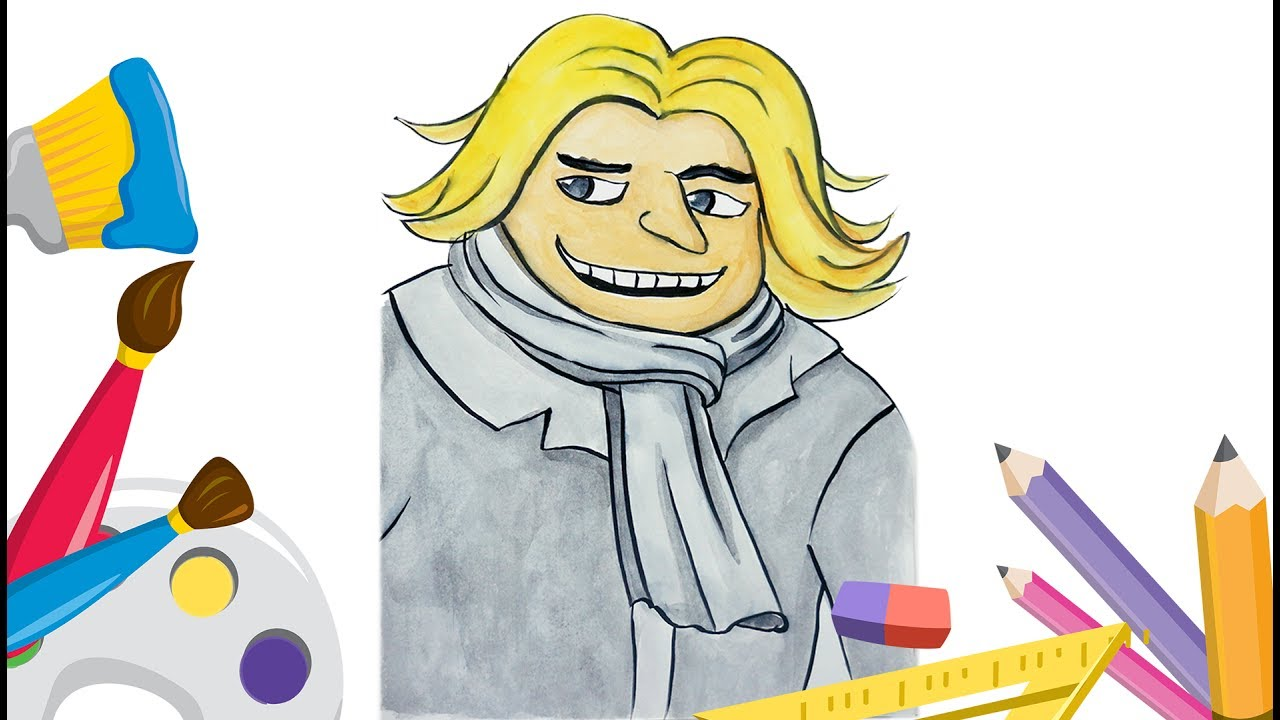 how to draw dru brother gru from despicable me 3 movie coloring