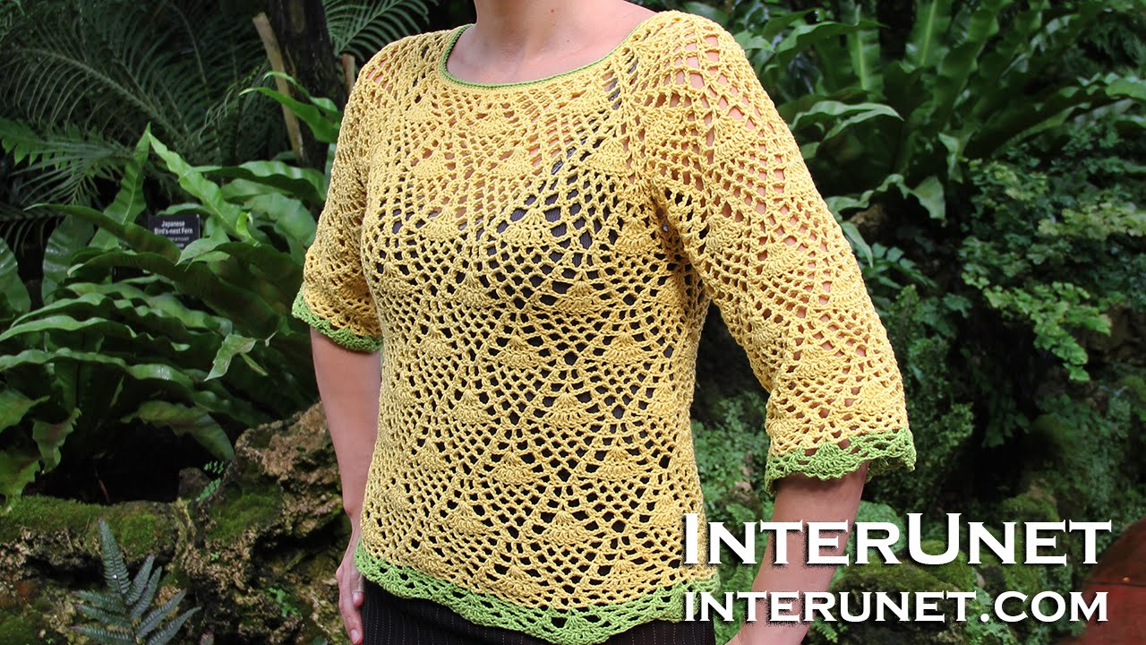 e59b88760 How to crochet a raglan sleeve sweater using pineapple stitch - Part ...