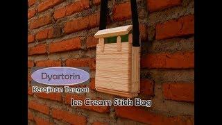 Cara membuat tas dari stick ice cream   kerajinan stik es krim   diy popsicle stick bag / purse
