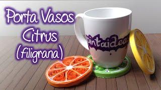Porta vasos con forma de limon ( Citrus )  de Filigrana,  Quilling Citrus cup holders.