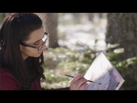 Woman Draws Picture in Nature | Stock Footage - Videohive