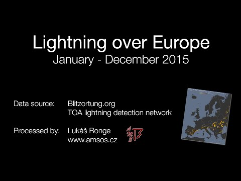 Blesky nad Evropou 2015 / Lightning over Europe 2015 (Blitzortung.org)