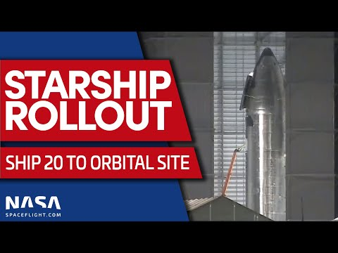 Starship Rollout as Ship 20 Heads to the Pad for Stacking on Booster 4