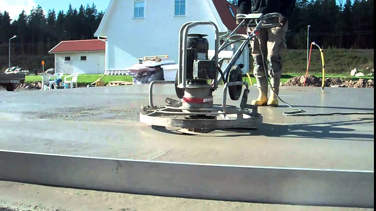 slipa betongplatta efter gjutning