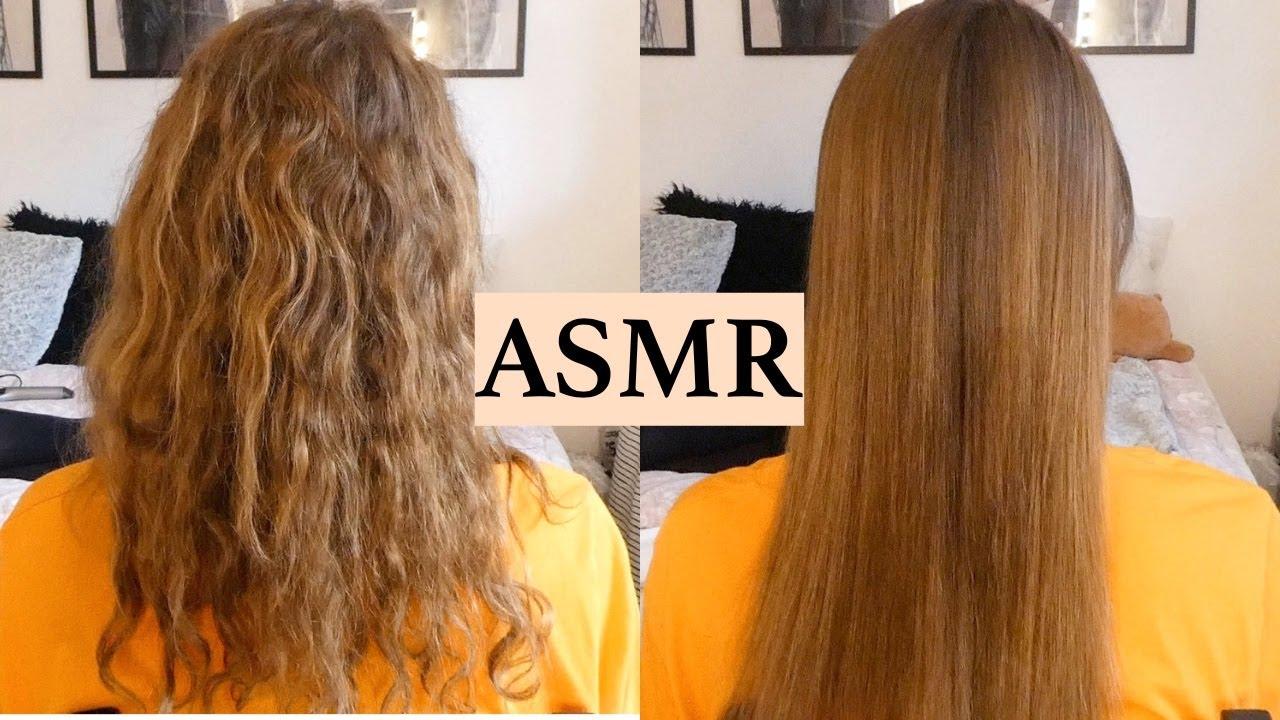 ASMR HAIR TRANSFORMATION - CURLY TO STRAIGHT (hair play, straightening, brushing, no talking)