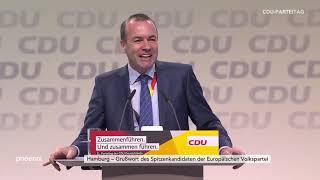 Grußwort von Manfred Weber (CSU) auf dem CDU-Parteitag in Hamburg am 08.12.18