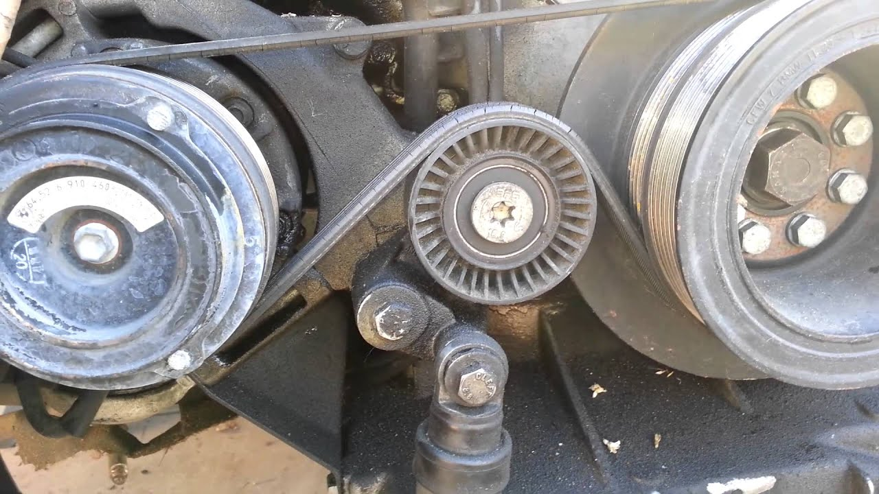 bmw 740 540 ac compressor belt tension pulley removal [ 1280 x 720 Pixel ]