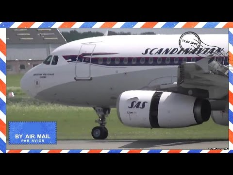 Close up of Retro SAS Airbus A319 arriving from Mallorca at CPH - Flyvergrillen - OY-KBO - SK586