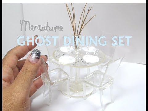 "DIY Plastic and Resin Lucite ""Ghost"" Dining Set Table and Chairs Miniature Dollhouse Furniture"