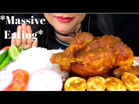 ASMR:Eating Whole Chicken Curry With Rice,boiled Eggs,onion And Green Chilli(Mukbang)Eating Show
