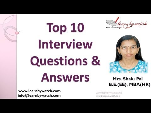 Top 10 Interview Questions and Answers - (Hindi / Urdu) - YouTube - personality interview questions and answers