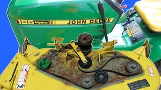 HOW TO MAINTAIN A JOHN DEERE LAWN MOWER DECK REPLACE BLADES PULLEYS BELTS