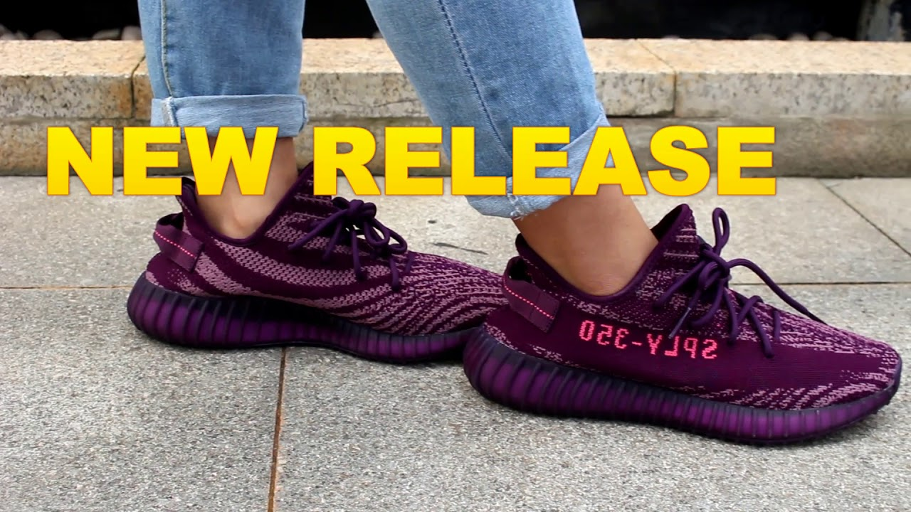 0754ec620d03c AUTHENTIC YEEZY BOOST 350 V2 NEW RELEASE NEW COLOR RED NIGHT PURPLE PINK ON  FEET