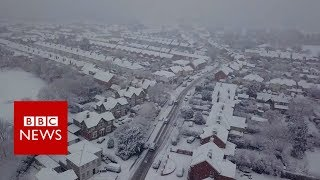 Drone footage captured snowy scenes in Ipswich as wintry conditions...