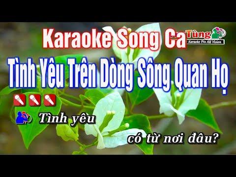 Karaoke || Tình Yêu Trên Dòng Sông Quan Họ Song Ca || Nhạc Sống Duy Tùng