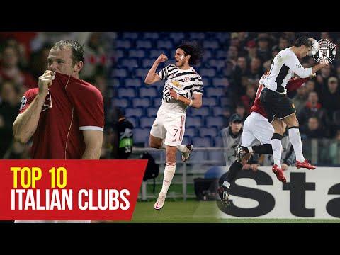 Top 10 Goals vs Italian Clubs | Rooney, Cavani, Giggs, Ronaldo, Fernandes | Manchester United