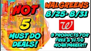 5 MUST DO WALGREENS DEALS (8/25 - 8/31) | 9 PRODUCTS FOR FREE & $1.06 MONEYMAKER! 🔥💃