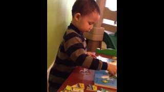 Benjamin Will Cruz - doing the puzzle of the USA all by him
