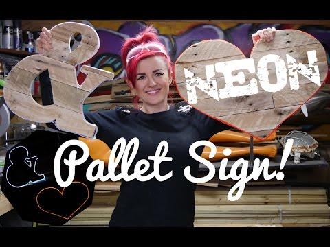 DIY NEON pallet sign - glowing wall art!