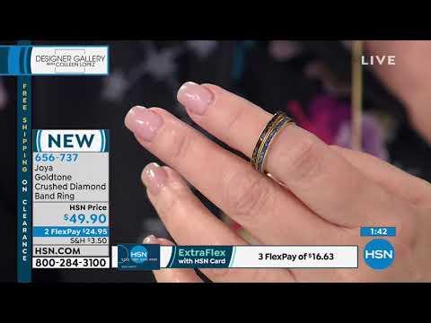 Joya Goldtone Sterling Silver Crushed Diamond Band Ring. https://pixlypro.com/AXpjaX0