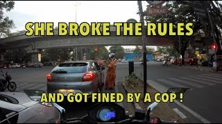 WOMEN messes with Bangalore POlice !! Stupid woman driver !!! Bangalore reactions 28