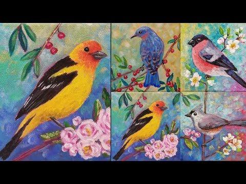 "Easy Bird Acrylic Painting Tutorial ""Western Tanager"" Songbird Series"