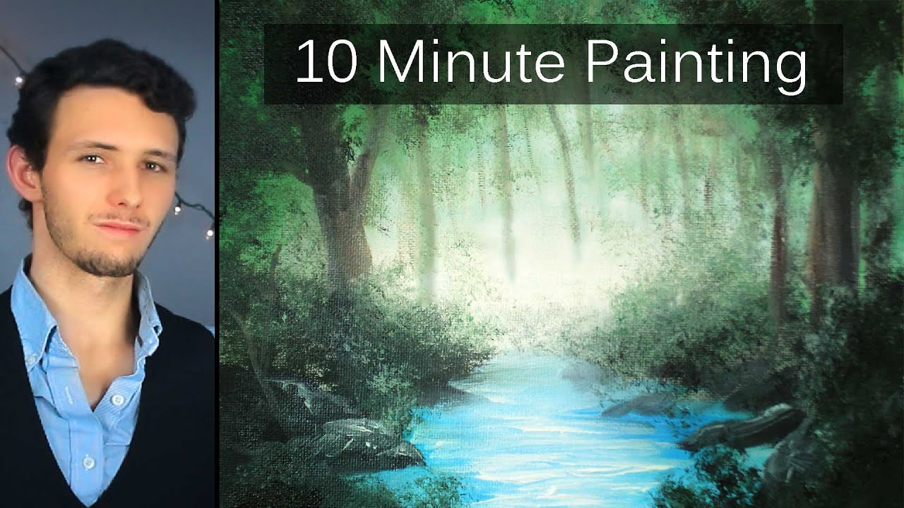 5fe7b13a0 Painting a Misty Forest Landscape with Acrylics in 10 Minutes! - YouTube