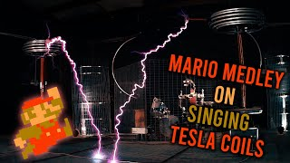 Super Mario Bros Medley on Tesla Coils and Robot Drummer