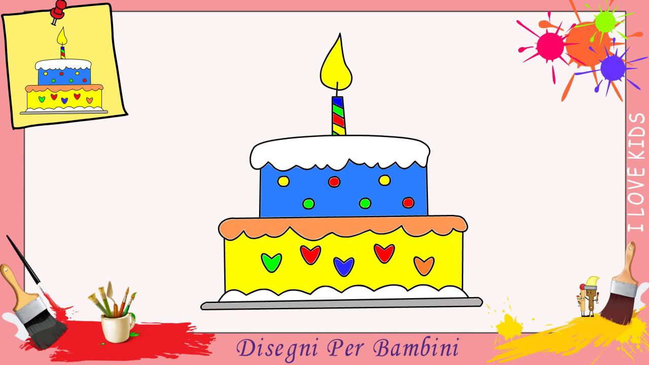 Disegni di torta di compleanno , Come disegnare una torta di compleanno  FACILE per bambini