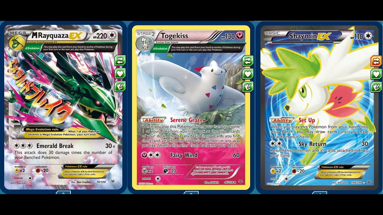 Extremely Strong Roaring Skies Deck White Mega Rayquaza Ex W Four Shaymin Ex Togekiss Youtube