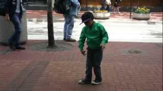6 yr old makai dance moves with a street drummer makai hip hop   robot dance kid
