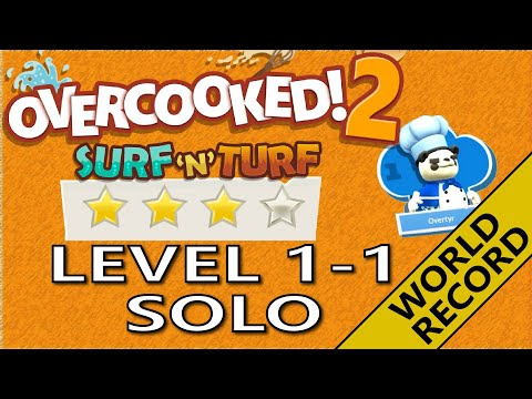 Overcooked! 2 – 🍹Surf 'n' Turf! Level 1-1 - 4-Stars World record! -  1 Player - Score: 967 |